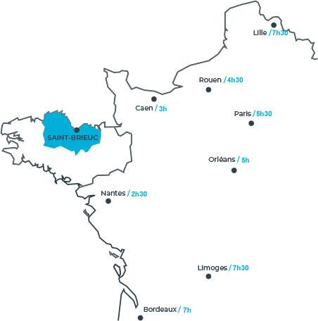 Venir en Côtes d'Armor, les temps de parcours en autocar